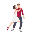 young elegant romantic couple dancing salsa vector image