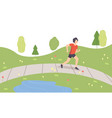 young man running in park guy doing physical vector image