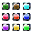 Set of colorful glass square buttons eps10 vector image