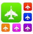 armed fighter jet set collection vector image vector image