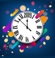 blue abstract 2019 new year background with clock vector image vector image