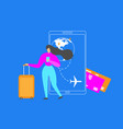booking flight tickets with mobile app flat vector image