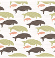 brown and green seal manatee silhouette wave vector image vector image