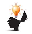 bulb above open head idea symbol creative vector image vector image