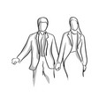 businessman and businesswoman holding hand with vector image vector image