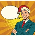 businessman in a christmas hat vector image