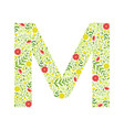 capital letter m green floral alphabet element vector image