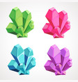 cartoon set of colored natural crystals vector image vector image