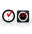 check mark on clock isolated vector image vector image