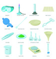 chemical laboratory tools icons set cartoon style vector image vector image