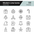 christmas decoration icons modern line design set vector image