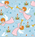 christmas pattern with angels playing trumpet vector image vector image