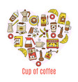 coffee flat line icons enclosed in the shape of vector image vector image