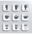 cup coffee web icons set in black and white vector image vector image