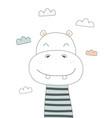 cute hippo in scandinavian vector image vector image