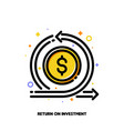 dollar and arrow icon for return on investment vector image vector image
