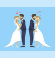 double wedding bride and groom kissing and hugging vector image vector image