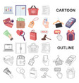 e-commerce purchase and sale cartoon icons in set vector image vector image