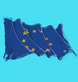 European union artistic brush stroke waving flag