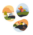 fall landscapes set house sea vector image