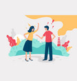 flat young couple swear about environmental vector image vector image