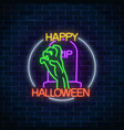 glowing neon sign of halloween banner design with vector image vector image