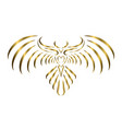 gold line art eagle with beautiful wings vector image vector image