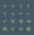 green outline various navigation menu buttons vector image vector image