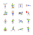 gym icons set cartoon vector image vector image