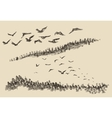 Hand drawn landscape flying birds forest vintage vector image vector image