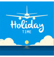 holiday time landing plane sea sun set background vector image