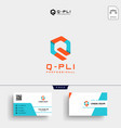 initial q logo template and business card vector image