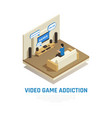 isometric videogame addiction background vector image vector image