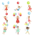 Kids With Party Balloons vector image vector image