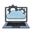 laptop with cloud computing scribble vector image vector image