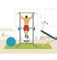 Man pull-up up on horizontal bar in gym vector image