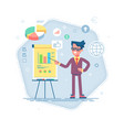 man standing near flip chart and pointing graph vector image vector image