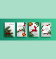merry year red 3d reindeer card set vector image