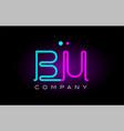 neon lights alphabet bu b u letter logo icon vector image vector image