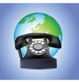 old telephone and globe vector image vector image