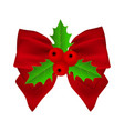 red christmas bow with holly on white background vector image