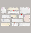 ripped paper strips with clips realistic crumpled vector image vector image