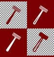 safety razor sign bordo and white icons vector image vector image