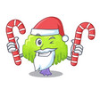 santa with candy willow tree branch for frame vector image vector image