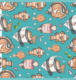 sea seamless pattern with fishes vector image vector image