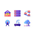 set icons with database wi-fi modem web mail vector image