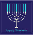 silver hannukah menorah graphic on blue vector image vector image