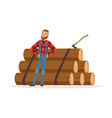 smiling lumberjack man standing against pile of vector image