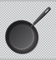 steel empty frying pan isolated realistic vector image vector image