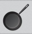 steel empty frying pan isolated realistic vector image